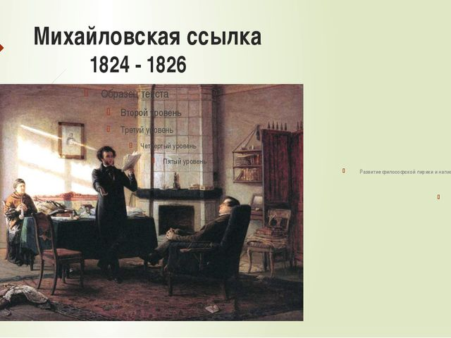 Михайловская ссылка 1824 - 1826 Встречи с друзьями и написание стихотворения...