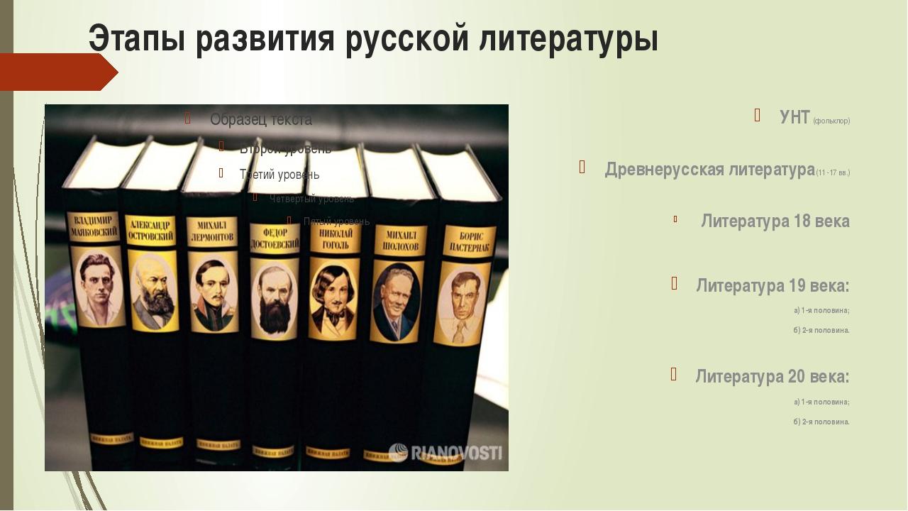 Этапы развития русской литературы УНТ (фольклор) Древнерусская литература(11...