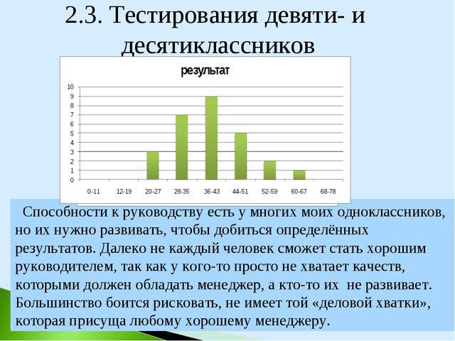 2.3. Тестирования девяти- и десятиклассников Способности к руководству есть у...