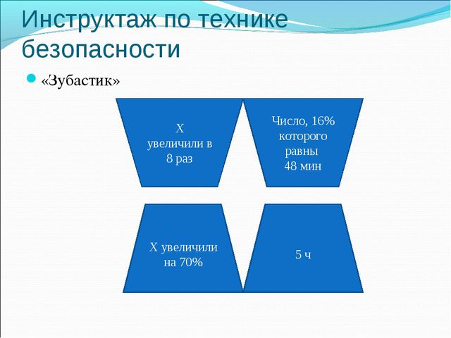 Инструктаж по технике безопасности «Зубастик» Х увеличили на 70% 5 ч Х увелич...