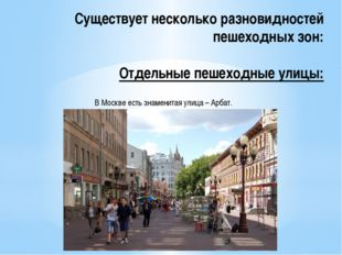 Существует несколько разновидностей пешеходных зон: Отдельные пешеходные улиц