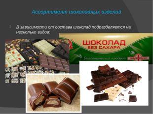Ассортимент шоколадных изделий В зависимости от состава шоколад подразделяетс
