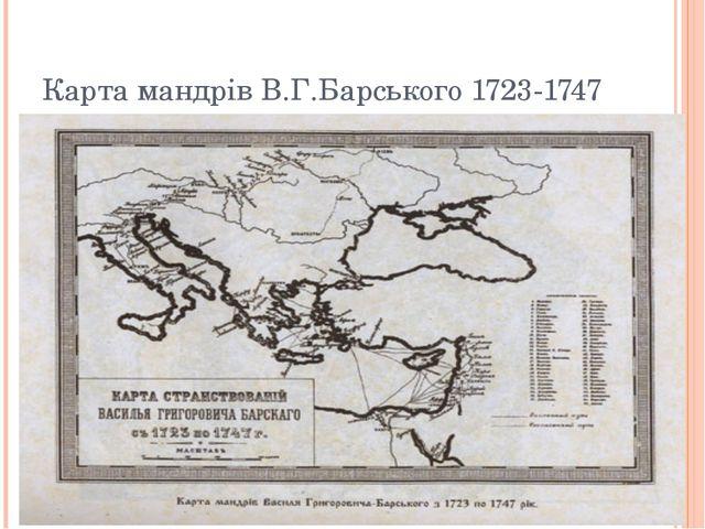 Карта мандрів В.Г.Барського 1723-1747