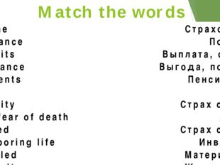 Match the words Income Insurance Benefits Allowance Payments Tax Security The