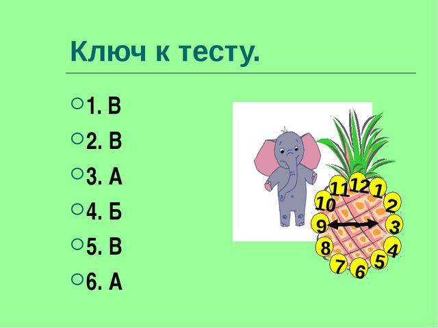 Ключ к тесту. 1. В 2. В 3. А 4. Б 5. В 6. А