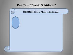 """Der Text """"Beruf Schülerin"""" Mein Mitschüler / Meine Mitschülerin"""