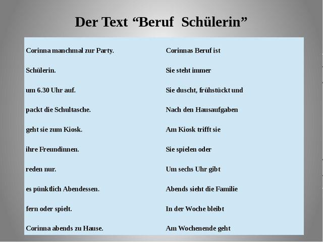 """Der Text """"Beruf Schülerin"""" CorinnamanchmalzurParty. Corinnas Beruf ist Schüle..."""