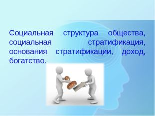 Социальная структура общества, социальная стратификация, основания стратифик