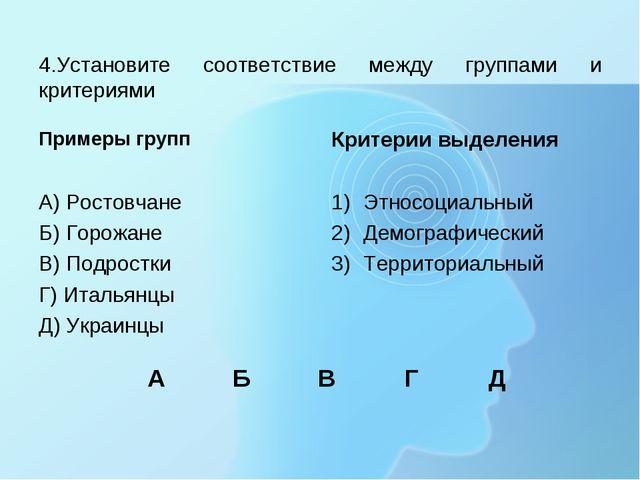 4.Установите соответствие между группами и критериями Примеры групп А) Ростов...