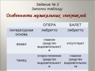 Задание № 3 Заполни таблицу Особенности музыкальных спектаклей ОПЕРАБАЛЕТ л