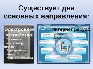Существует два основных направления: Электронное устройство: Планшеты, компью