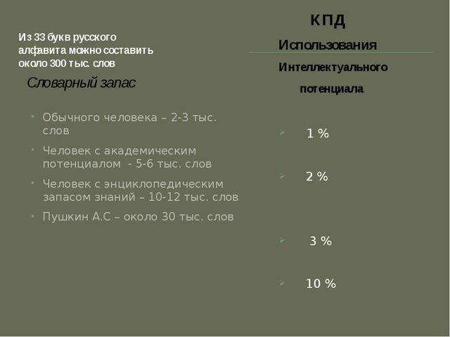 Из 33 букв русского алфавита можно составить около 300 тыс. слов Словарный за...