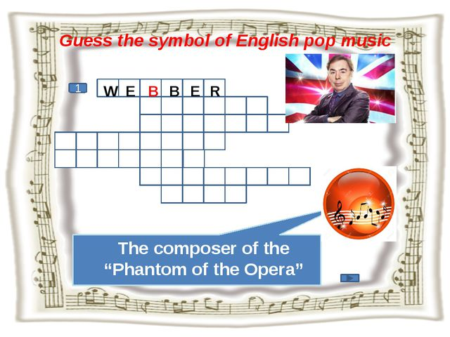 """Guess the symbol of English pop music 1 The composer of the """"Phantom of the O..."""