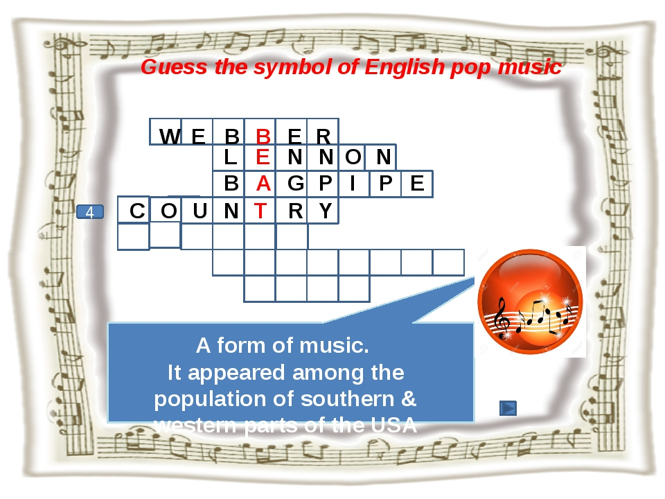 Guess the symbol of English pop music 4 W E B B E R A form of music. It appea...