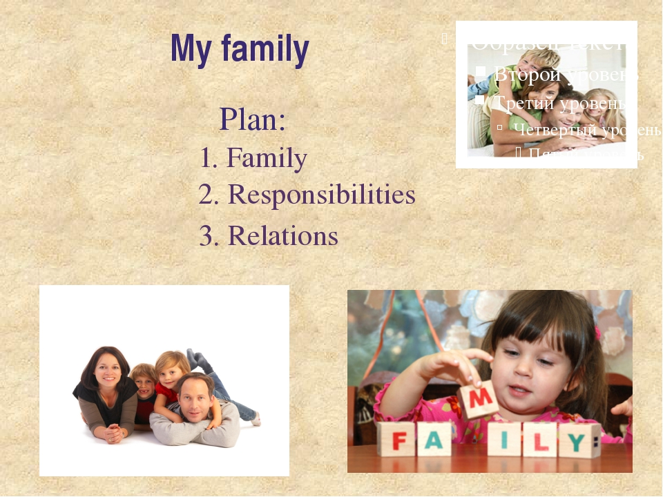 My family Plan: 1. Family 2. Responsibilities 3. Relations