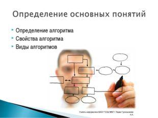 Определение алгоритма Свойства алгоритма Виды алгоритмов Учитель информатики