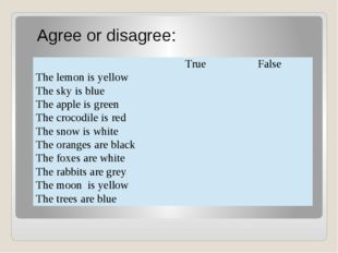 Agree or disagree: True False The lemon is yellow The sky is blue Theappleis