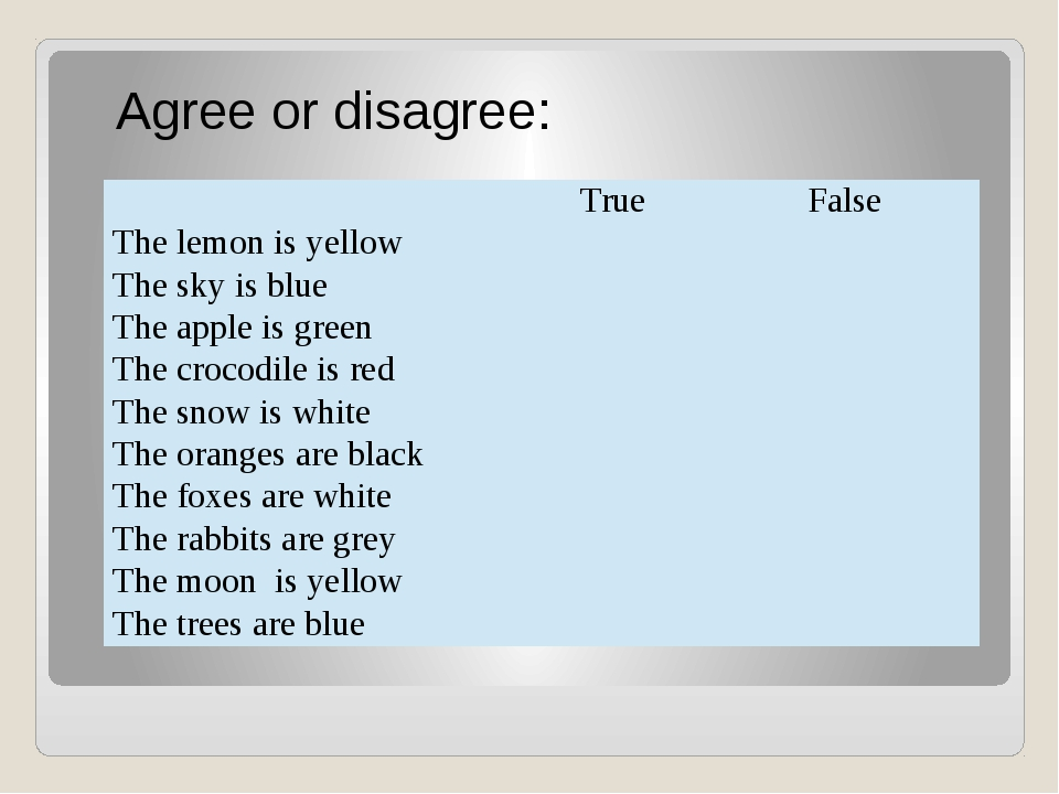 Agree or disagree: True False The lemon is yellow The sky is blue Theappleis...