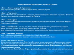 Профилактическая деятельность состоит из 5 блоков: 1 блок – «Спорт и здоровы