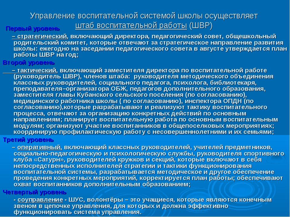 Управление воспитательной системой школы осуществляет штаб воспитательной раб...