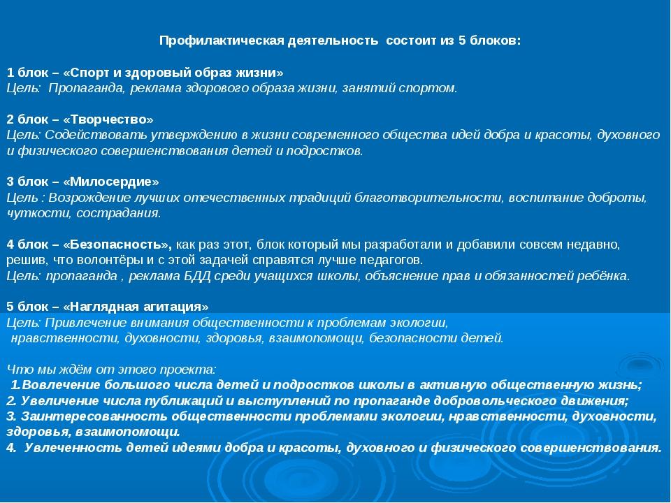 Профилактическая деятельность состоит из 5 блоков: 1 блок – «Спорт и здоровы...