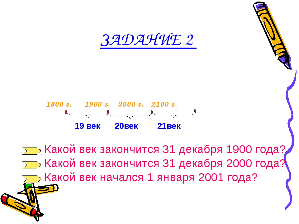 ЗАДАНИЕ 2 1800 г. 1900 г. 2000 г. 2100 г. 20век 21век 19 век - Какой век зак...