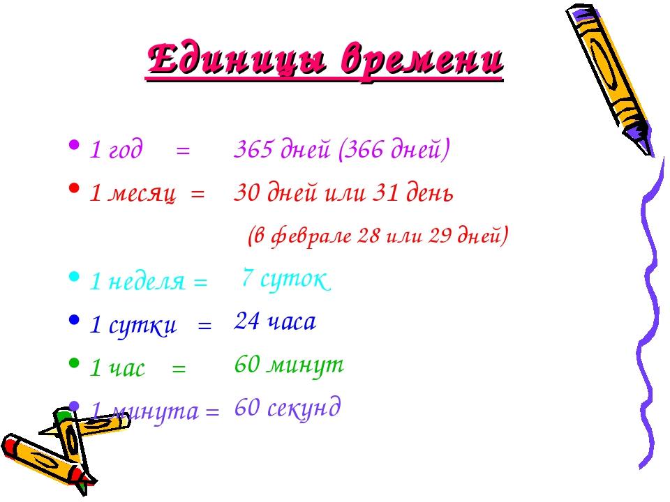 Единицы времени 1 год = 1 месяц = 1 неделя = 1 сутки = 1 час = 1 минута = 365...