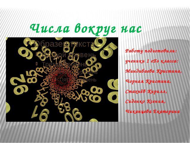 Числа вокруг нас Работу подготовили: ученики 1 «Б» класса: Миндибаева Кристин...
