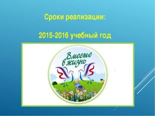 Сроки реализации: 2015-2016 учебный год