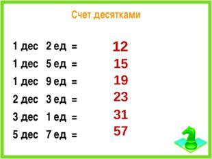 Счет десятками 1 дес 2 ед = 1 дес 5 ед = 1 дес 9 ед = 2 дес 3 ед = 3 дес 1 ед