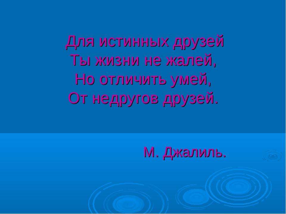 Для истинных друзей Ты жизни не жалей, Но отличить умей, От недругов друзей....