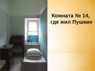 Комната №14, где жил Пушкин