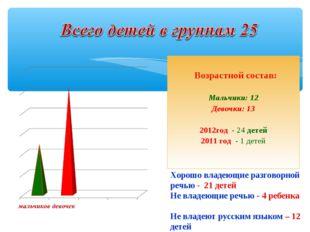 Возрастной состав: Мальчики: 12 Девочки: 13 2012год - 24 детей 2011 год - 1