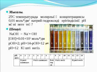 Мысалы.  250С температурада молярлыққ концентрациясы 0,01 моль*дм-3 натрий г