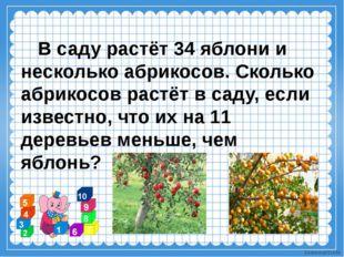 В саду растёт 34 яблони и несколько абрикосов. Сколько абрикосов растёт в са