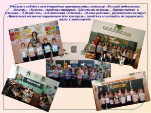 Участие и победы в международных интерактивных конкурсах «Русский медвежонок