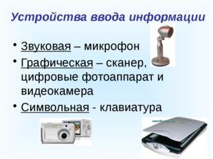 Устройства ввода информации Звуковая – микрофон Графическая – сканер, цифров