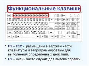 Функциональные клавиши F1 – F12 - размещены в верхней части клавиатуры и зап