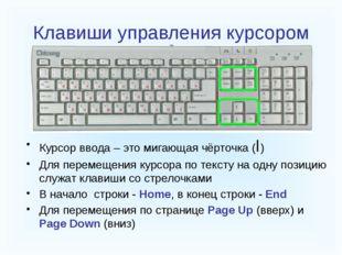 Клавиши управления курсором Курсор ввода – это мигающая чёрточка (I) Для пер