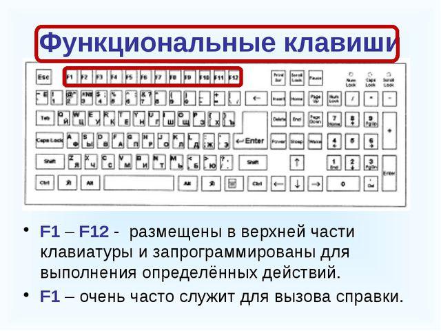 Функциональные клавиши F1 – F12 - размещены в верхней части клавиатуры и зап...