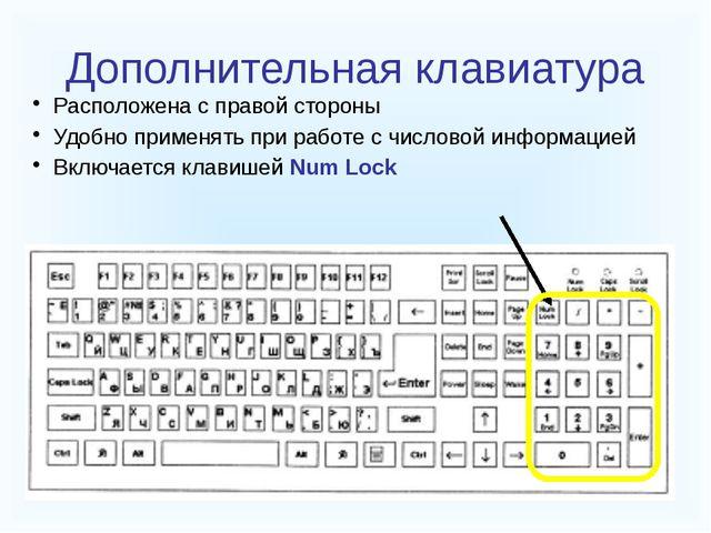 Дополнительная клавиатура Расположена с правой стороны Удобно применять при...
