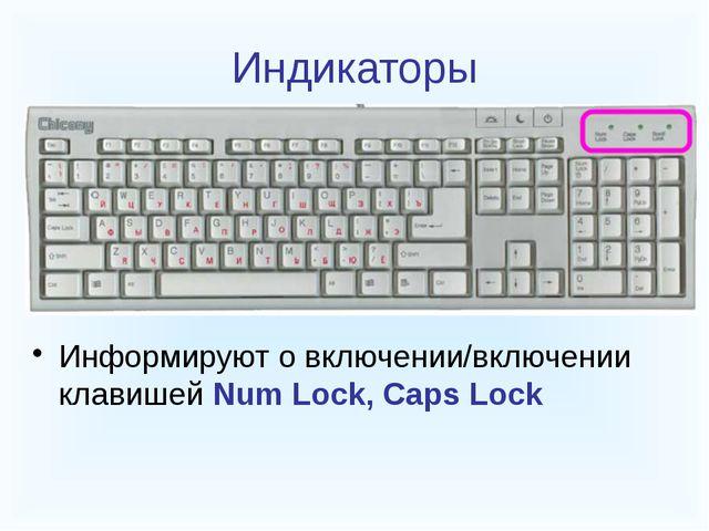 Индикаторы Информируют о включении/включении клавишей Num Lock, Caps Lock