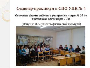 Семинар-практикум в СПО УПК № 4 Основные формы работы с учащимися лицея № 20