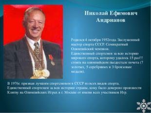 Родился 4 октября 1952года. Заслуженный мастер спорта СССР. Семикратный Олимп