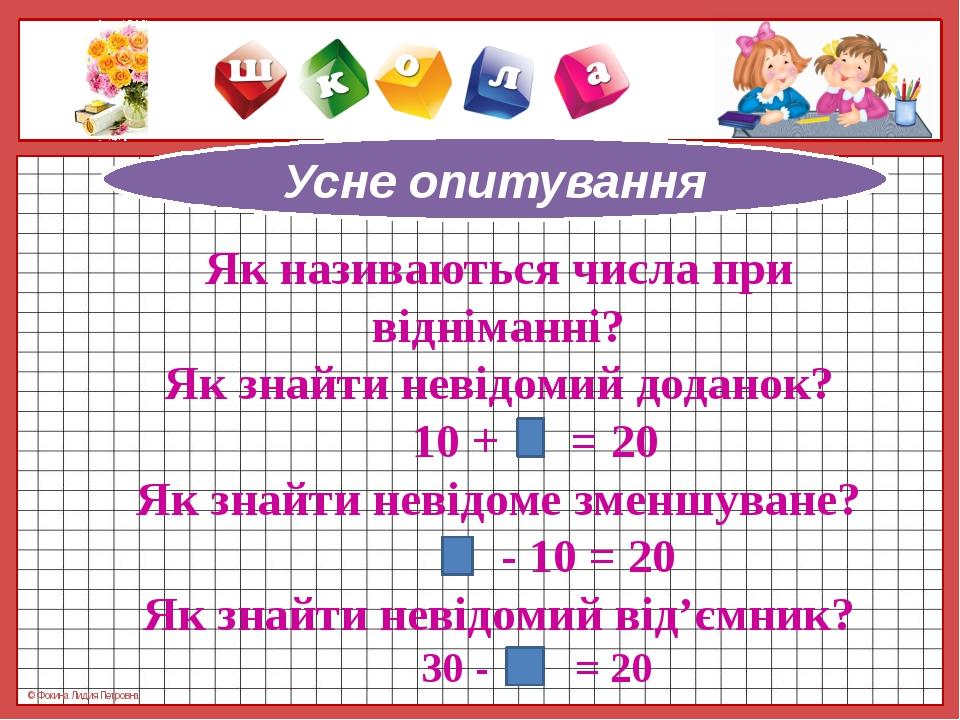 Як називаються числа при відніманні? Як знайти невідомий доданок? 10 + = 20 Я...
