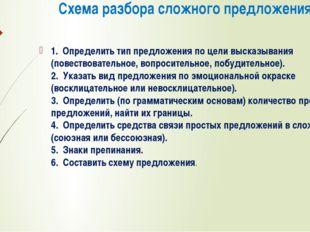 Схема разбора сложного предложения: 1. Определить тип предложения по цели вы