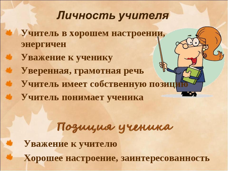 Учитель в хорошем настроении, энергичен Уважение к ученику Уверенная, грамотн...