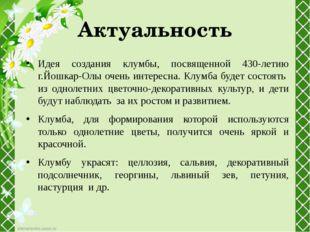 Актуальность Идея создания клумбы, посвященной 430-летию г.Йошкар-Олы очень и
