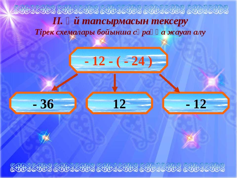 ІІ. Үй тапсырмасын тексеру Тірек схемалары бойынша сұраққа жауап алу - 12 -...