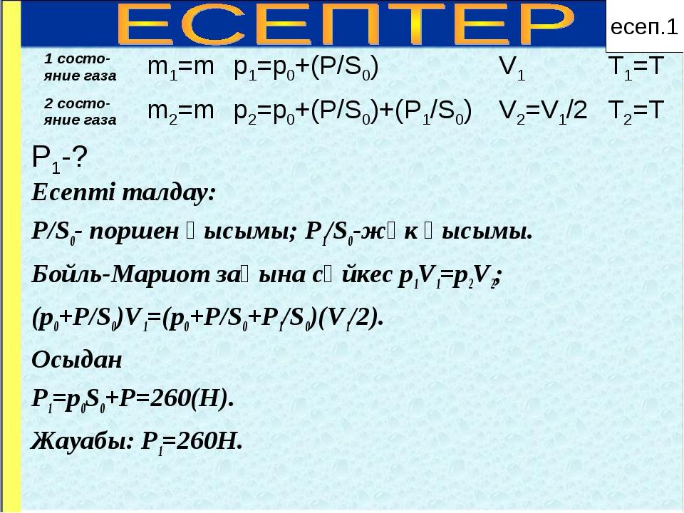 P1-? Есепті талдау: P/S0- поршен қысымы; P1/S0-жүк қысымы. Бойль-Мариот заңын...